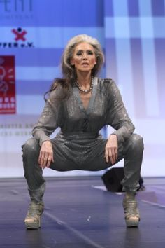 Eveline Hall 65 years old at the Berliner Fashion-Week