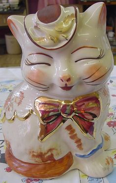 Georgeous rare Colors Puss n Boots cookie jar For sale at Jazz'e Junque in Chicago ~ www.jazzejunque.com