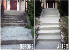 Columbus OH Sidewalk Steps Concrete Resurfacing Concrete Porch, Concrete Steps, Concrete Floors, Poured Concrete, Concrete Projects, Concrete Patio, Concrete Resurfacing, Concrete Coatings, Painting Concrete