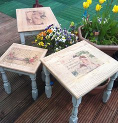 diy chalk paint ,nest of tables makeover