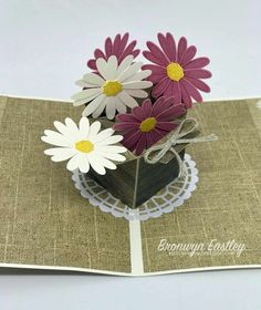 Daisy Lane Pop-Up Card Tutorial paper paper napkins paper to the moon Pop Up Flower Cards, Pop Up Box Cards, 3d Cards, Stampin Up Cards, Easel Cards, Box Cards Tutorial, Card Tutorials, Fancy Fold Cards, Folded Cards