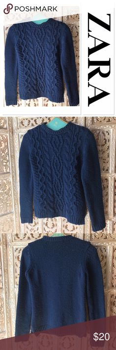 """Zara cable knit chunky sweater size M ☘️ Zara cable knit chunky sweater size M. Gorgeous navy blue color. Across chest about 18"""". Sweater length about 24"""". 100% Acrylic. Very good condition. Zara Sweaters"""