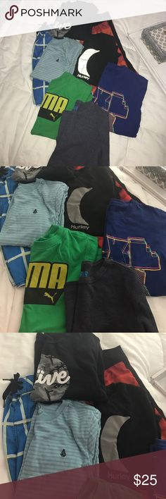 Lot of boys clothes Size 7/8 swim shorts are 24 brands are puma,  Hurley Nike, volcom, ripcurl , active billibong and Harper canyon. Hurley Shirts & Tops
