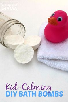 "DIY ""Kid-Calming"" Bath Bombs Recipe using Lavender Essential Oils at B-Inspired Mama"