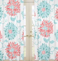 Shop for Sweet Jojo Designs Emma Collection Coral/Turquoise/White Microfiber Curtain Panel Pair. Get free delivery On EVERYTHING* Overstock - Your Online Home Decor Outlet Store! Coral Curtains, Drapes Curtains, Blackout Curtains, Nursery Window Treatments, Window Panels, Curtain Panels, Thing 1, Floral Bedding, Rod Pocket Curtains