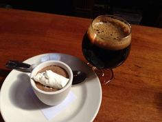 Mocha Panna Cotta paired with a double midnight lager from Social Kitchen & Brewery in San Francisco, CA.