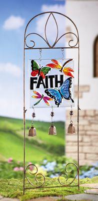 Glass Faith Plaque Garden Stake w/ Chimes