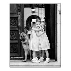 Twin Girls & a Dog « B&W Portrait ❤ liked on Polyvore featuring kids, backgrounds, babies, little kids and people