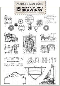 steampunk engineering schematics pet engineering schematics wow vintage nautical decor, boat dredger 1880s ship print ... #1
