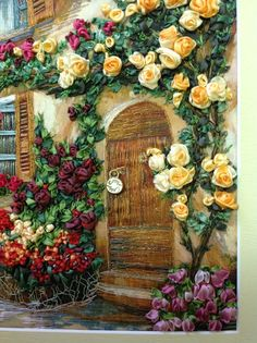 Bordado con cintas 2 Rose Embroidery, Embroidery Needles, Silk Ribbon Embroidery, Embroidery Patterns, Cross Stitch Embroidery, Thread Painting, Ribbon Art, Embroidery Techniques, Needlepoint