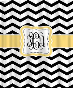 Personalized Shower Curtain  Black & White Chevron. I want this with pink detail for my new guest bathroom. How fabulous!!!!