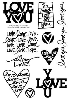 FOR THE LOVE OF ART STAMP | Technique-Tuesday-All-My-Love-Ali-Edwards-Clear-Stamps-Medium