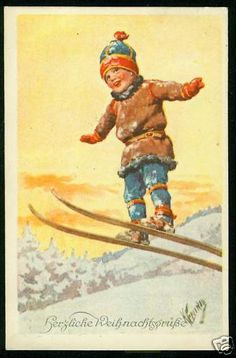 Weihnachten, Kind mit Ski, Skisprung, sign. Feiertag • EUR 8,98 - PicClick DE