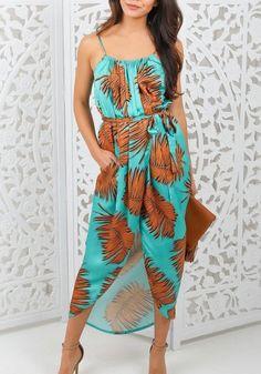 Green Floral Condole Belt Irregular Belt Fashion Maxi Dress