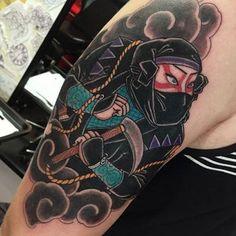 Japanese Warrior Tattoo, Japanese Tattoo Art, Japanese Sleeve Tattoos, Traditional Japanese Tattoo Designs, Neo Traditional Tattoo, Arte Ninja, Ninja Art, Buddah Sleeve Tattoo, Tinta Tattoo