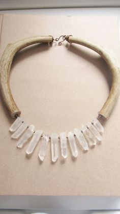 Custom Made Raw Quartz Bib Necklace Antler Necklace Rustic Jewelry A Game Of Thrones Jewelry