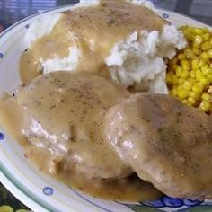 An old-fashioned hamburger steak recipe topped with a creamy mushroom sauce. Serve with some warm mashed potatoes and your favorite green vegetable. Our family loves this. Makes a great cheap meal!