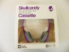 New Skullcandy Cassette Mic'd Headphones Removeable Speakers Purple