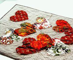 Original Textile Art Red Hearts Modern Quilting by BozenaWojtaszek
