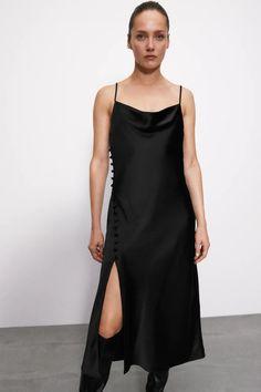 SATIN CAMISOLE DRESS   ZARA United Kingdom Zara Black Dress, Black Dress Outfits, Black Satin Dress, Winter Dress Outfits, Dress Winter, Satin Skirt, Casual Outfits, Vestidos Zara, Zara Dresses