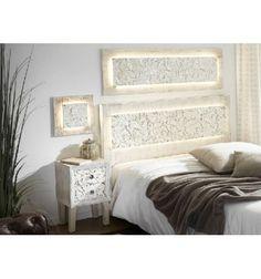 Cabecero con luz madera blanca envejecida tallada colección exótica
