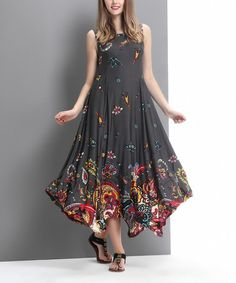 Look at this #zulilyfind! Charcoal Floral Paisley Scoop Neck Handkerchief Maxi Dress #zulilyfinds