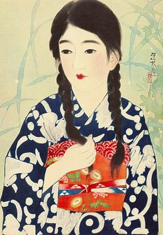Ito Shinsui (伊東 深水): No. 20, series 100 Figures of Beauties wearing Takasago Kimonos, c. 1931, ukiyo-e print (浮世絵), source: uki...