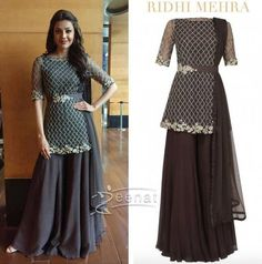 Kajal Agarwal In Ridhi Mehra palazzo 3 Sharara Designs, Kurti Designs Party Wear, Dress Indian Style, Indian Dresses, Indian Outfits, Indian Wear, Stylish Dress Designs, Stylish Dresses, Stylish Outfits