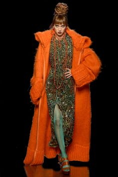 OMG Red Orange Sweater Coat Jacket! #SweaterCoat #OversizedKnitwear #RedSweater #OutfitIdea #FAllFashion #WinterFashion #RunwayFashion #HowToStyleFashion Orange Sweaters, Sweater Coats, Jean Paul Gaultier, Runway Fashion, Knitwear, Winter Fashion, Fur Coat, Photos, Mood Boards