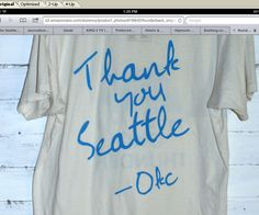 New Oklahoma City Thunder shirt says 'Thank You Seattle'