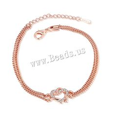 comeon® Jewelry Bracelet, Zinc Alloy, with 2lnch extender chain, Heart, real rose gold plated, twist oval chain & with rhinestone & 2-strand, nickel, lead & cadmium free, 19mm,china wholesale jewelry beads