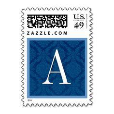 Royal Blue Damask Monogram Wedding Postage