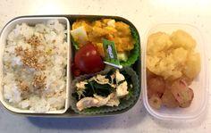 Kindergarten bento – Chicken fillet & sautéed spinach (4/Jul/16) | SMALL TOKYO KITCHEN
