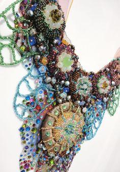 One of a kind Multicolour bead embroidered fantasy par Monikque, $699.00