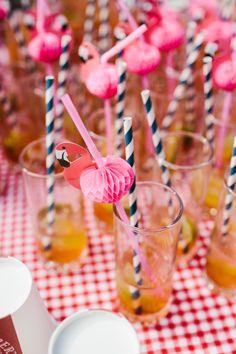 Quava Cocktail with flamingo striped straws
