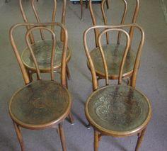 Antique Jacob and Josef Kohn bow top Bentwood chairs, Austria, Press Seat