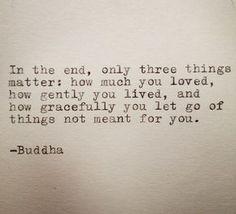 Am Ende nur drei Dinge wichtig: wie sehr du geliebt hast, wie sanft Sie gelebt und wie anmutig Sie Dinge, die nicht für Sie bedeutet loslassen.