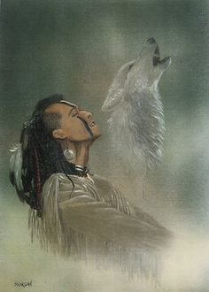 Native indian and wolf spirit