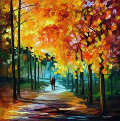 """AUTUMN COLORS — PALETTE KNIFE Oil Painting On Canvas By Leonid Afremov - Size 30""""x30"""" Oil Paintings, Nature Paintings, Original Paintings, Landscape Paintings, Oil Painting For Sale, Painting Frames, Oil Painting On Canvas, Fall Color Palette, Oil Painting Texture"""