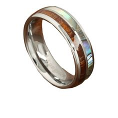 Genuine koa wood and half mother of pearl crafted with pure tungsten carbide