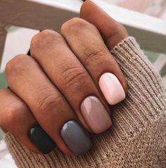 Beautiful winter nails Beige nail art Grey gel polish Modern nails Multi-color nails Nails in pink shades Beige Nail Art, Beige Nails, Gradient Nails, Pink Gel Nails, Gold Nail, Burgundy Nails, Cute Acrylic Nails, Cute Nails, My Nails