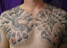 cloud tattooBlack And Grey Compass Cloud Tattoo On Chest FkuJh0Z6