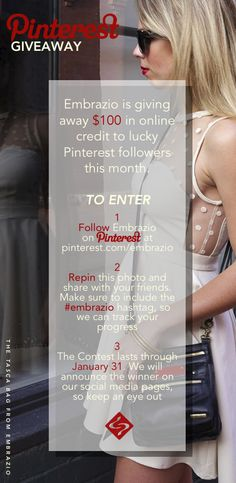 We're giving away $100 in online store credit to a lucky Pinterest follower this month. To enter, simply follow our pinterest account (pinterest.com/embrazio), repin the contest image and include the #embrazio hashtag in the description so we can find you. We will announce the winner during the first week of February, so keep an eye out! #giveaway #contest