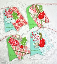 Layered Plaid Christmas Tags by Dawn McVey for Papertrey Ink (October 2015)