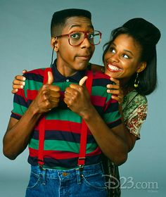 Famous Celebrities, Black Celebrities, Celebs, Black Couples, Cute Couples, Jaleel White, Afro, Black Sitcoms, Steve Urkel
