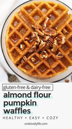 Almond Flour Pumpkin Waffles - These paleo pumpkin waffles are naturally gluten free, and completely delicious. Crispy on the outside and fluffy on the inside. // Paleo waffle recipe // almond flour waffle recipe // gluten free pumpkin waffle recipe // gluten free pumpkin waffles recipe // paleo pumpkin waffles recipe // almond flour waffles recipe // pumpkin waffles recipe // paleo breakfast // paleo pumpkin recipes // gluten free breakfast // healthy pumpkin waffles #almondflour #waffles Almond Flour Waffles, Healthy Waffles, Gluten Free Waffles, Gluten Free Granola, Gluten Free Oatmeal, Gluten Free Recipes For Breakfast, Paleo Pumpkin Recipes, Gluten Free Pumpkin, Healthy Pumpkin