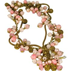 Vintage Pink Dangling Necklace offered by Ruby Lane Shop, The Vintage Jewelry Boutique.