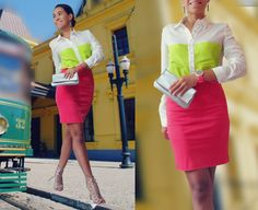 #neon #colorblock #colorblocking #skirt #shirt #highheels #sandals #mkconsulting #mkconsultingco