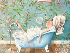 Bubble Bath Fairy illustration by elina ellis Cute Illustration, Digital Illustration, Art Fantaisiste, Fun Art, Foto Transfer, Gif Animé, Whimsical Art, Cute Pictures, Artsy