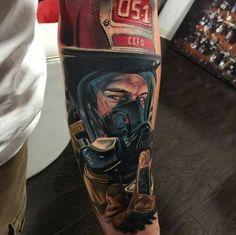 by Vic Vivid Ems Tattoos, Badass Tattoos, Body Art Tattoos, Fireman Tattoo, Firefighter Tattoos, Disney Sleeve Tattoos, Stylist Tattoos, Tattoo Project, Trash Polka Tattoo